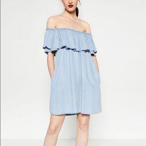 Zara Denim Chambray Dress